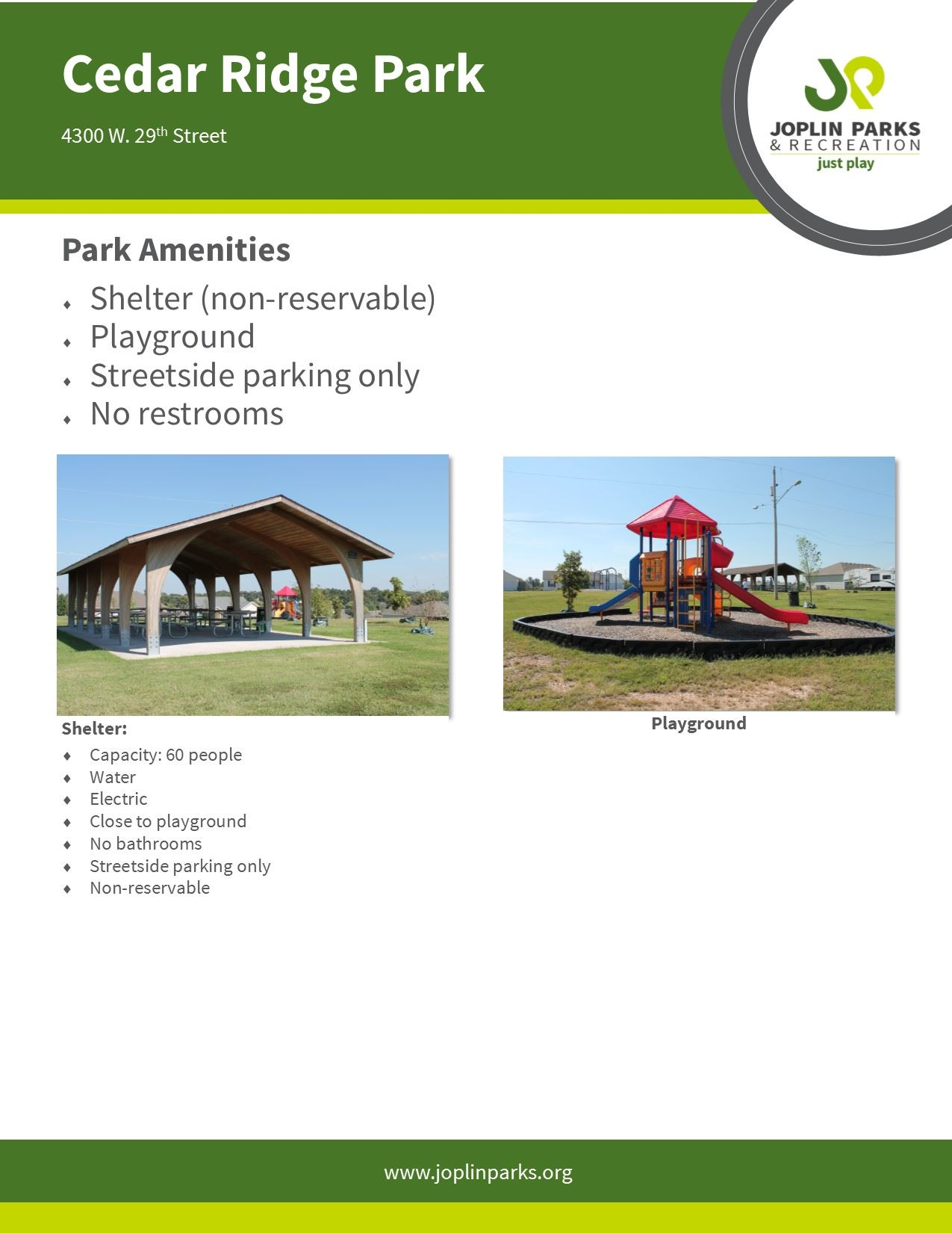 Cedar Ridge Park Fact Sheet
