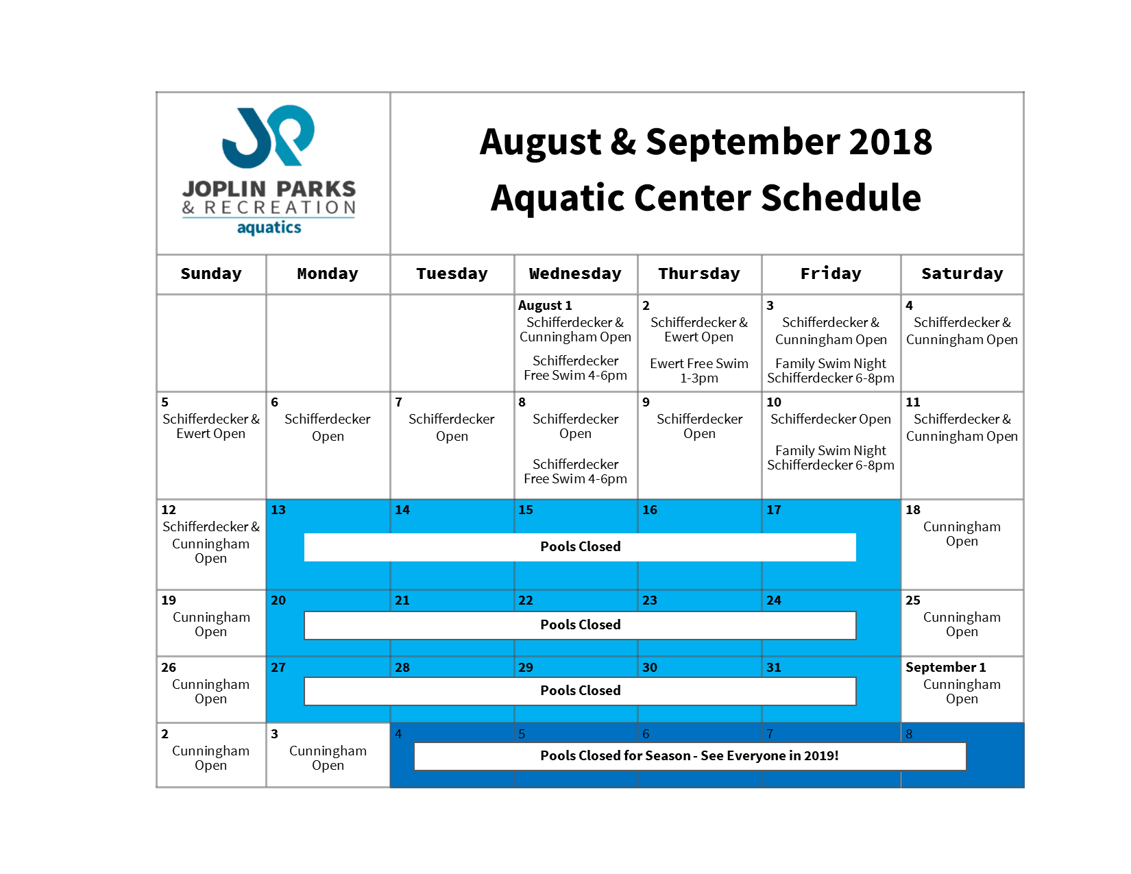 2018 Aquatic Center Closing Schedule